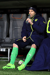 Arsenal goalkeeper Petr Cech in the dugout