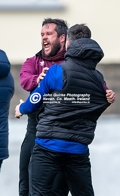 03-05-2021 <br /> Drogheda United v Bohemians FC<br /> <br /> Full time Score 1 - 1<br /> <br /> Drogheda United Manager, Tim Clancy, celebrate a late equalizer, scored by James Clarke, during the Drogheda United v Bohemians FC, SSE Airtricity Premier Division match at Head in the Game Park, Drogheda.<br /> <br /> <br /> Photo: GERRY SHANAHAN-WWW.QUIRKE.IE