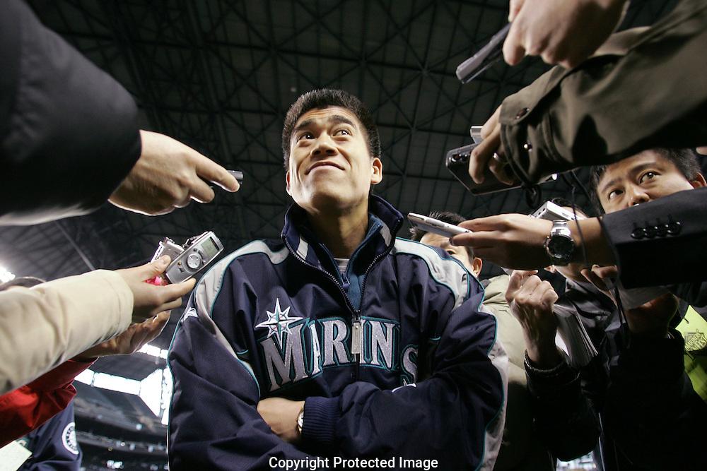 Seattle Mariners newest catcher Kenji Johjima during the Mariners FanFest  in Seattle. (AP Photo/John Froschauer)