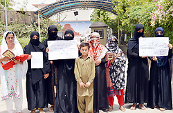 April 26, 2018 - Pakistan - LARKANA, PAKISTAN, APR 26: Residents of Dokri are holding protest demonstration for .acceptance of their demands, at Larkana press club on Thursday, April 26, 2018. (Credit Image: © PPI via ZUMA Wire)