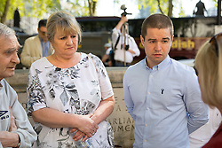 "© Licensed to London News Pictures. 08/05/2018. London, UK. Sam Hallam (right) arriving at the Supreme Court with his mother Wendy Cohen, where he is appealing for ""miscarriage of justice"" compensation. Hallam spent over seven years in jail after he was wrongly sentenced to life in 2005 for a gang-related murder in north London that he did not commit. Photo credit : Tom Nicholson/LNP"