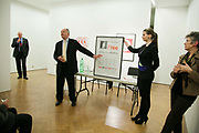 Ken Livingstone opens the auction by selling of a piece by artist Richard Hamilton. Art auction held at Gimpel Fils in support of Ken Livingstone's bid for London Mayor in May 2012.