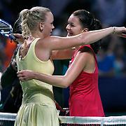 Denmark's Caroline Wozniacki (L) returns to Poland's Agnieszka Radwanska (R) during their TEB BNP Paribas WTA Championships at Sinan Erdem Arena in Istanbul Turkey on Tuesday, 25 October 2011. Photo by TURKPIX