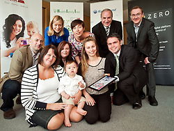 Launch of Technology Strategy Board, Year Zero dallas Community at Rotherham NHS Foundation trust on Wednesday morning.From left to right front Gran Bet Rudge and Zac Roberts, Barbara Seaton of Rotherham Foundation trust, Mum Kirsty Rudge and Ben Chico of Rotherham Foundation trust with (Behind left to right) David McGirr of Illumina Digital, Alison Shaw of Liverpool Community Health Trust, Alison Mlot dallas program manager with Technology Strategy Board, Brian James Chief exec Rotherham Foundation trust,  and Jason Brewster of Sitekit..23  May 2012.Image © Paul David Drabble