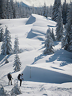 Snowshoers pause to look at deep snow drifts on the way to High Hut cabin on the Mount Tahoma Trails in the Tahoma State Forest, Cascade Mountain Range, near Mount Rainier in Washington State, USA
