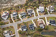 Aerial view of waterfront homes in Charleston National in Mount Pleasant, SC.