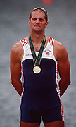 Atlanta, USA, GBR M2- Gold medallist Steve REDGRAVE, on the awards dock after winning the final at the 1996, Olympic Rowing Regatta at Lake Lanier, Gainsville Georgia,  [Photo Peter Spurrier/Intersport Images]