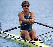 Sydney. AUSTRALIA. 2000 Summer Olympic Regatta, Penrith. NSW.  <br /> <br /> AUS M1X  Darren BALMFORTH <br /> <br /> [Mandatory Credit Peter SPURRIER/ Intersport Images] Sydney International Regatta Centre (SIRC) 2000 Olympic Rowing Regatta00085138.tif