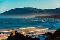 Rugged coastline along State Highway 1, Westport, Mendocino County, California USA.