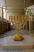 Replica of the Temple Menorah at The excavations at the cardo, old Roman street Jerusalem, Israel