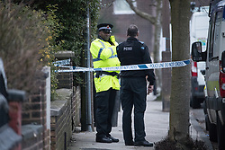 © Licensed to London News Pictures. 09/01/2018. Stockport, UK. Police and crime scene investigators are investigating the historical disappearance of Kenneth Coombes are digging up the garden of a house on Matlock Road in Reddish after a 63 year old woman handed herself in to Cheadle Heath Police Station . Photo credit: Joel Goodman/LNP
