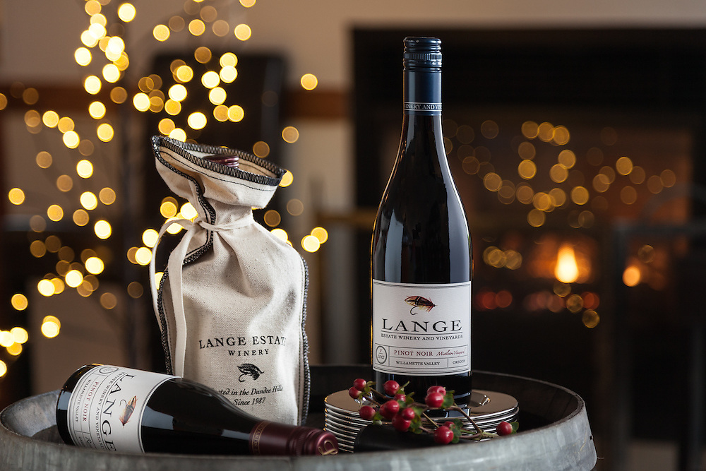 Decking the halls at Lange Estate Winery in Oregon. On location styled bottle shoot for some holiday promotions for the 2012 Mistletoe Pinot Noir.