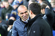 Everton Manager Roberto Martinez (l) and Aston Villa Manager Remi Garde share a joke prior to kick off. Barclays Premier League match, Everton v Aston Villa at Goodison Park in Liverpool on Saturday 21st November 2015.<br /> pic by Chris Stading, Andrew Orchard sports photography.