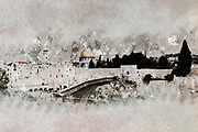 Digitally enhanced image of the Dome of the Rock on Temple mount and the wailing wall, Jerusalem, Old City, Israel