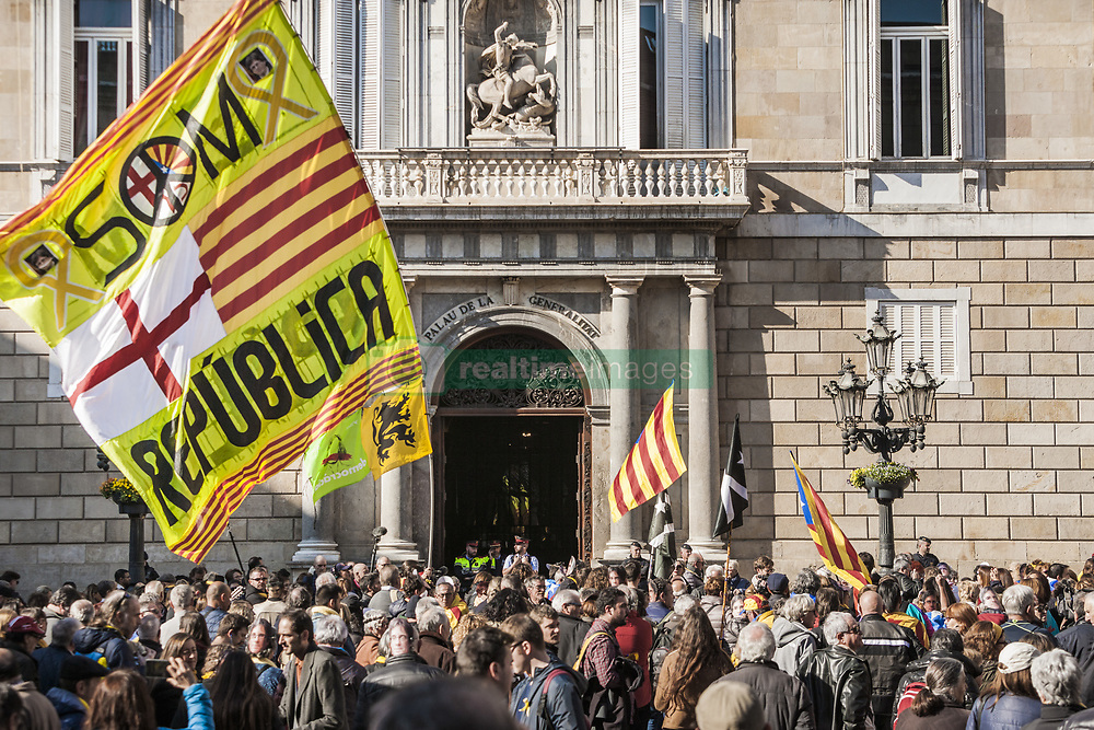 January 30, 2018 - Barcelona, Catalonia, Spain - Huge flag with republican symbols in front of the Generalitat Palace during a demonstration of independentists in Barcelona, Spain (Credit Image: © Celestino Arce via ZUMA Wire)