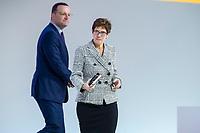 07 DEC 2018, HAMBURG/GERMANY:<br /> Annegret Kramp-Karrenbauer (vorne), CDU Generalsekretaerin, und Jens Spahn (hinten), CDU, Bundesgesundheitsminister, nach der Beantwortung von Fragen an die Kandidaten fuer das Amt des Parteivorsitzenden, CDU Bundesparteitag, Messe Hamburg<br /> IMAGE: 20181207-01-150<br /> KEYWORDS: party congress