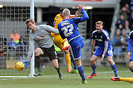 Preston goalkeeper Anders Lindegaard (l) saves from Cardiff City's Lex Immers (27). Skybet football league championship match, Cardiff city v Preston NE at the Cardiff city stadium in Cardiff, South Wales on Saturday 27th Feb 2016.<br /> pic by Carl Robertson, Andrew Orchard sports photography.