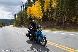 Jon Neuman riding his 1928 Harley-Davidson JD during Stage 10 (278 miles) of the Motorcycle Cannonball Cross-Country Endurance Run, which on this day ran from Golden to Grand Junction, CO., USA. Monday, September 15, 2014.  Photography ©2014 Michael Lichter.