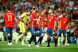 June 10, 2019 - Madrid, MADRID, SPAIN - Sergio Ramos Garcia of Spain and Jordi Alba Ramos of Spain during the 2020 UEFA European Championships group F, European Qualifiers, played between Spain and Sweden at Santiago Bernabeu Stadium in Madrid, Spain, on June 10, 2019. (Credit Image: © AFP7 via ZUMA Wire)