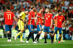 June 10, 2019 - Madrid, MADRID, SPAIN - Sergio Ramos Garcia of Spain and Jordi Alba Ramos of Spain during the 2020 UEFA European Championships group F, European Qualifiers, played between Spain and Sweden at Santiago Bernabeu Stadium in Madrid, Spain, on June 10, 2019. (Credit Image: © AFP7 via ZUMA Wire)