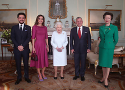 The Queen reveals a large bruise on her hand as she receives Crown Prince Hussein of Jordan, Queen Rania of Jordan and King Abdullah II of Jordan during a private audience at Buckingham Palace, London, UK, on the 28th February 2019. Picture by Yui Mok/WPA-Pool. 28 Feb 2019 Pictured: Crown Prince Hussein of Jordan, Queen Rania of Jordan, Queen, Queen Elizabeth, King Abdullah II of Jordan, Princess Anne, Princess Royal. Photo credit: MEGA TheMegaAgency.com +1 888 505 6342