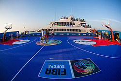 View on the court and ship Prince of Venice from sea raft after exhibition match between Croatia, Italy and Slovenia at Eurobasket 2013 promotion Basketball on sea raft on August 24, 2013, Koper, Slovenia. (Photo by Matic Klansek Velej / Sportida.com)