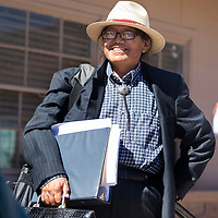 Vincent Yazzie outside the Office of Hearing and Appeals (OHA), Wednesday, Sept. 26, 2018 in Window Rock to attend a hearing for a complaint he filed against Navajo Nation Presidential candidate Jonathan Nez citing a DWI conviction as grounds for disqualification. OHA ruled in favor of Nez because the conviction is more than 5 years old.