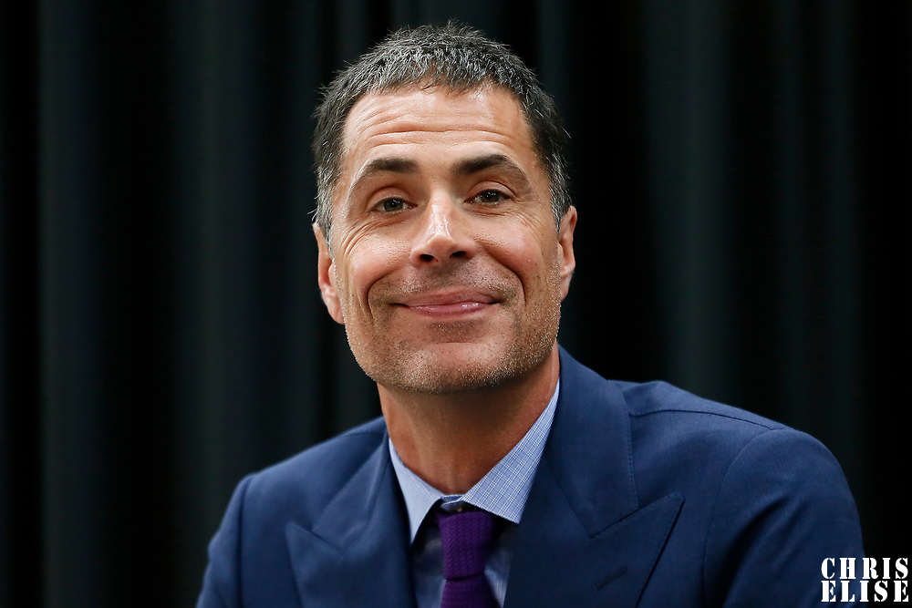EL SEGUNDO, CA - JUN 26: General Manager of the Los Angeles Lakers Rob Pelinka answers questions during an introductory press conference at the UCLA Health Training Center on June 26, 2018 in El Segundo, California.