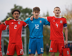 WREXHAM, WALES - Wednesday, October 30, 2019: Wales' Wales' Zachary Bell, goalkeeper Ronnie Hollinghshead and captain Zak Williams line-up before the 2019 Victory Shield match between Wales and Republic of Ireland at Colliers Park. (Pic by David Rawcliffe/Propaganda)