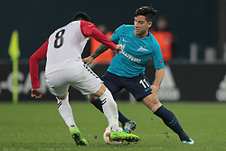 November 23, 2017 - Russia - midfielder Vanja Markovich of FC Vardar and forward Sebastian Driussi of FC Zenit during UEFA Europa League Football match Zenit - Vardar. Saint Petersburg, November 23,2017 (Credit Image: © Anatoliy Medved/Pacific Press via ZUMA Wire)
