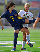 OFallon forward Avery Christopher (left) and Edwardsville defender Lydia Redmon vie for the ball. OFallon defeated Edwardsville in a girls soccer playoff game at OFallon High School in OFallon, IL on Tuesday June 8, 2021. <br /> Tim Vizer/Special to STLhighschoolsports.com.