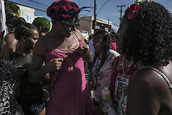 February 4, 2018 - Olinda, Pernambuco, Brazil - Hundreds of revelers accompany a block of carnival known as the Virgins of Olinda, where men traditionally dress in women's clothing during a pre-carnival in the city of Olinda, northeast Brazil, on February 4, 2018. Brazilian and tourists enjoy the pre-carnival during the weekend. (Credit Image: © Diego Herculano/NurPhoto via ZUMA Press)
