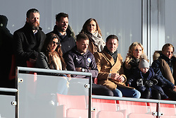 6th January 2018 - FA Cup - 3rd Round - Fleetwood Town v Leicester City - Jamie Vardy of Leicester watches from a box alongside his wife, Rebekah - Photo: Simon Stacpoole / Offside.