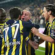 Fenerbahce's Mirosloav Stoch (C) celebrate his goal with team mate during their Turkish superleague soccer match Fenerbahce between Genclerbirligi at the Sukru Saracaoglu stadium in Istanbul Turkey on Saturday 03 March 2012. Photo by TURKPIX