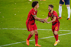 LEUVEN, BELGIUM - Sunday, November 15, 2020: Belgium's Dries Mertens (R) celebrates after scoring the second goal with team-mate Axel Witsel during the UEFA Nations League Group Stage League A Group 2 match between England and Belgium at Den Dreef. (Pic by Jeroen Meuwsen/Orange Pictures via Propaganda)