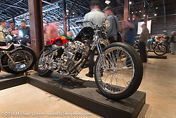Majik Mike Rabideau's custom Harley-Davidson Shovelhead on Saturday in the Handbuilt Motorcycle Show. Austin, TX, USA. April 8, 2016.  Photography ©2016 Michael Lichter.