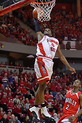 "31 January 2009: Osiris Eldridge floats up to the rim for a stuff. The Illinois State University Redbirds join the Bradley Braves in a tie for 2nd place in ""The Valley"" with a 69-65 win on Doug Collins Court inside Redbird Arena on the campus of Illinois State University in Normal Illinois"