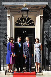 British Prime Minister David Cameron and his wife Samantha greet the US President Barack Obama and the first Lady Michelle on the steps of Number 10 Downing St, Tuesday May 24, 2011. Photo By Andrew Parsons/ Parsons Media