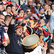 New England Revolution fans celebrate their sides first goal during the New York Red Bulls Vs New England Revolution, MLS Eastern Conference Final, first leg at Red Bull Arena, Harrison, New Jersey. USA. 23rd November 2014. Photo Tim Clayton
