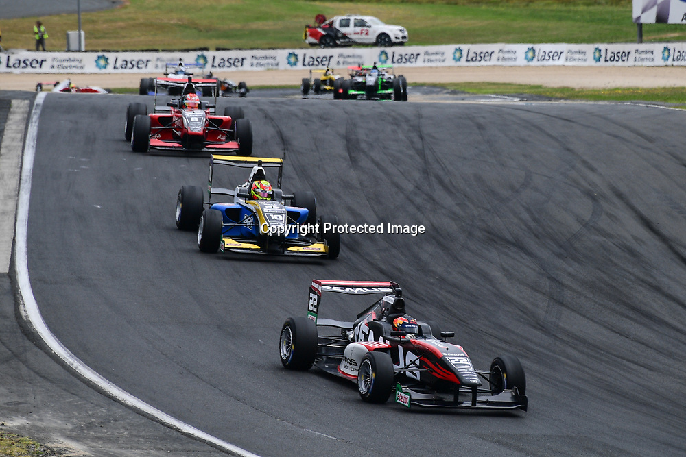 Lucas Auer leads Liam Lawson and Marcus Armstrong whilst racing in the 2019 Castrol Toyota Racing in New Zealand, taken on 26 January 2019