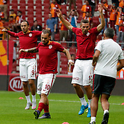 Galatasaray's Umut Bulut (L) Wesley Sneijder (M) during their Turkish Super League soccer match Galatasaray between Gaziantepspor at the AliSamiYen Spor Kompleksi TT Arena at Seyrantepe in Istanbul Turkey on Saturday, 26 September 2015. Photo by Kurtulus YILMAZ/TURKPIX