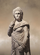 Roman statue of Demiougous, 2nd century AD from Hierapolis. Hierapolis Archaeology Museum, Turkey .<br /> <br /> If you prefer to buy from our ALAMY STOCK LIBRARY page at https://www.alamy.com/portfolio/paul-williams-funkystock/greco-roman-sculptures.html- Type - Hierapolis - into LOWER SEARCH WITHIN GALLERY box - Refine search by adding a subject, place, background colour, museum etc.<br /> <br /> Visit our CLASSICAL WORLD HISTORIC SITES PHOTO COLLECTIONS for more photos to download or buy as wall art prints https://funkystock.photoshelter.com/gallery-collection/The-Romans-Art-Artefacts-Antiquities-Historic-Sites-Pictures-Images/C0000r2uLJJo9_s0c