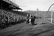 13/10/1963<br /> 10/13/1963<br /> Ireland v Austria, European Championship match at Dalymount Park, Dublin. Ireland won the game 3-2. Mick McGrath, Irish Left half, leaves the pitch after an injury.