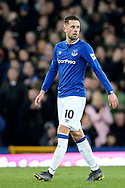 Everton midfielder Gylfi Sigurosson (10) during the Premier League match between Everton and Chelsea at Goodison Park, Liverpool, England on 17 March 2019.