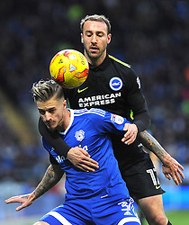 Glenn Murray of Brighton & Hove Albion completes with Joe Bennett of Cardiff City - Mandatory by-line: Nizaam Jones/JMP - 03/12/2016 -  FOOTBALL - Cardiff City Stadium - Cardiff, Wales -  Cardiff City v Brighton and Hove Albion - Sky Bet Championship