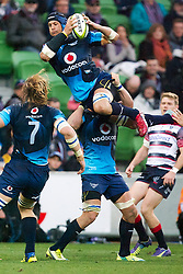 June 6, 2015 - Melbourne, Victoria, Australia - PIERRE SPIES of the Melbourne Rebels takes the ball in mid air during Rd 17 of the 2015 Super Rugby game between the Melbourne Rebels and the Bulls at AAMI Park. (Credit Image: © Tom Griffiths/ZUMA Wire)