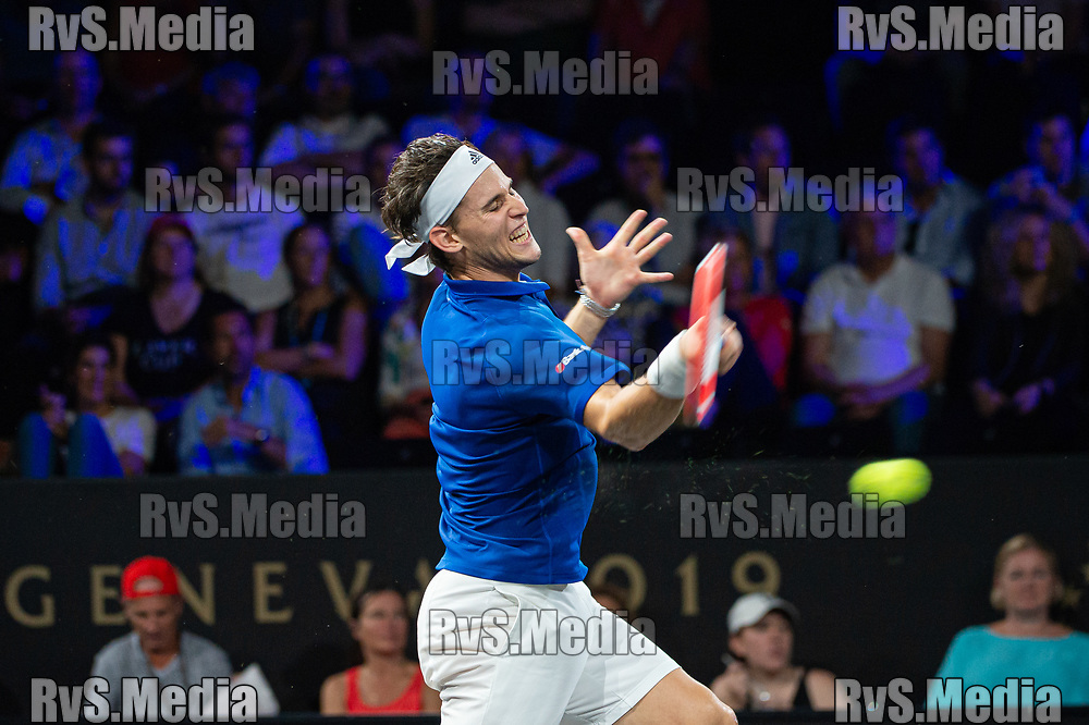 GENEVA, SWITZERLAND - SEPTEMBER 22: Dominic Thiem of Team Europe plays a forehand during Day 3 of the Laver Cup 2019 at Palexpo on September 20, 2019 in Geneva, Switzerland. The Laver Cup will see six players from the rest of the World competing against their counterparts from Europe. Team World is captained by John McEnroe and Team Europe is captained by Bjorn Borg. The tournament runs from September 20-22. (Photo by Robert Hradil/RvS.Media)