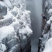 Jeremie Heitz entering a deep Dolomiti Couloir