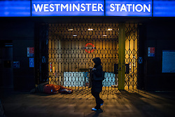© Licensed to London News Pictures. 09/01/2017. London, UK. Westminster Underground station is closed as a 24 hour  tube strike takes hold.  All Zone one tube stations are closed until 6PM tonight after members of the RMT and the Transport Salaried Staffs' Association unions walked out after talks with TFL collapsed.  Photo credit: Peter Macdiarmid/LNP