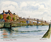 Randon Images of postcard drawings from Ireland HALFPENNY BRIDGE Old amateur photos of Dublin streets churches, cars, lanes, roads, shops schools, hospitals